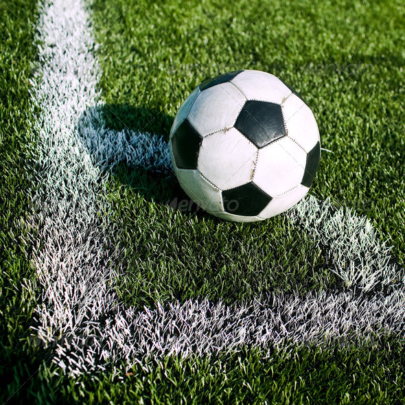 Soccer ball on the field - Stock Photo - Images