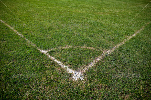 Corner of soccer pitch - Stock Photo - Images