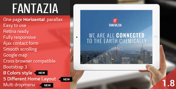 Fantazia – Multi Purpose Bootstrap Retina One Page