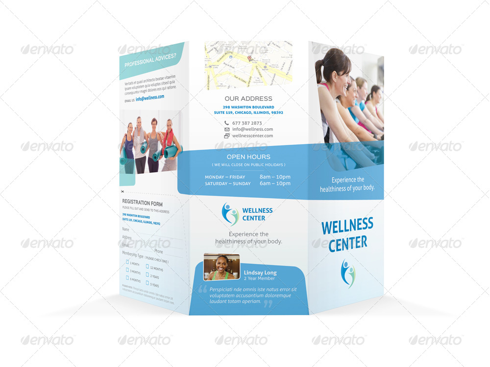 wellness center trifold brochure by mike pantone