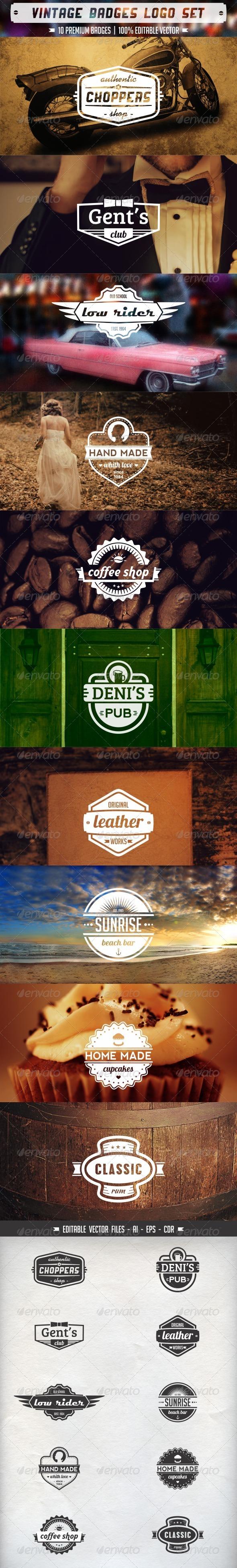 Vintage Badges Logo Set - Badges & Stickers Web Elements