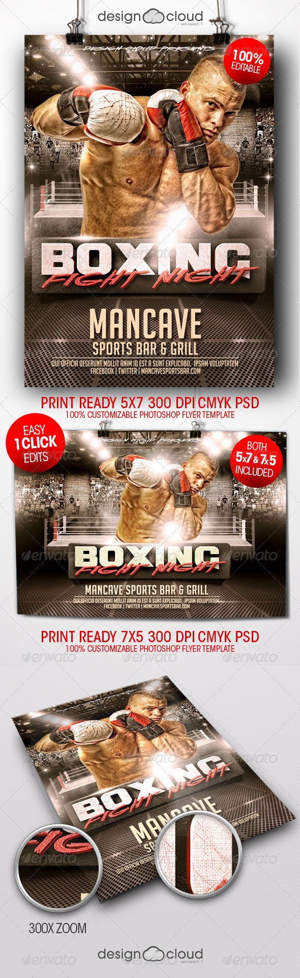Boxing Fight Night Flyer Templates by Design-Cloud | GraphicRiver