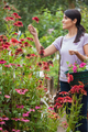 Woman holding a basket while looking at flowers in garden center - PhotoDune Item for Sale