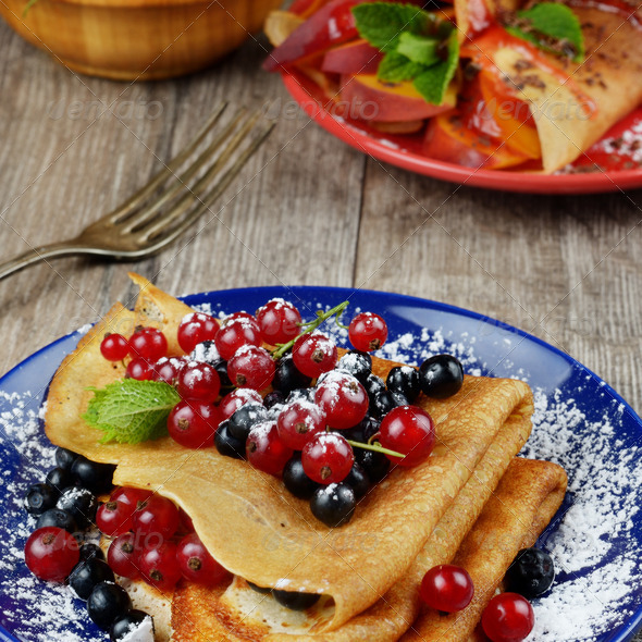 Crepes with berries - Stock Photo - Images
