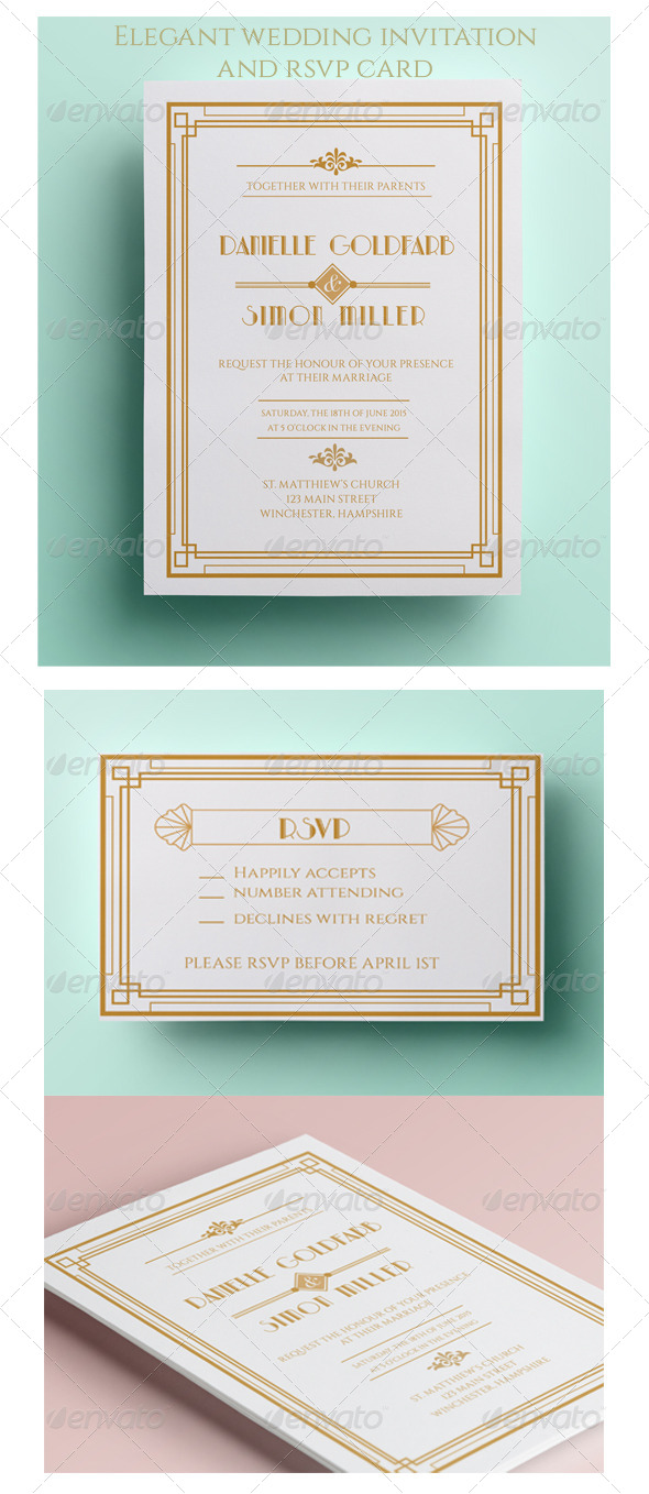Art Deco Wedding Invitation and RSVP - Weddings Cards & Invites
