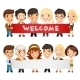 Teachers Presenting Empty Horizontal Banner - GraphicRiver Item for Sale
