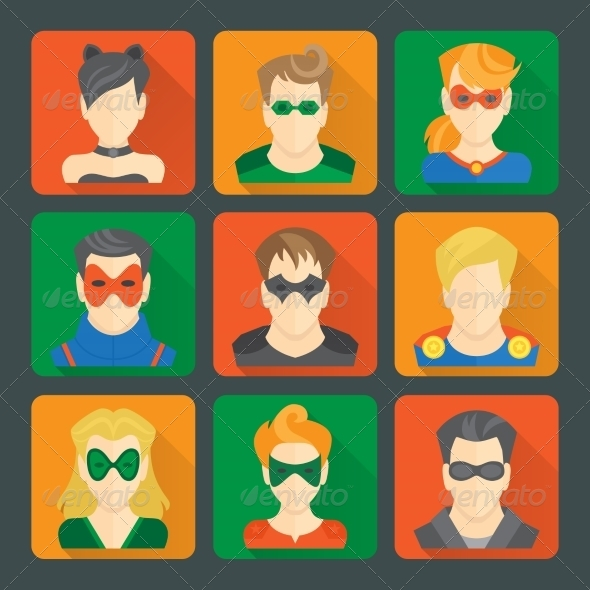 Set of Superheroes Stickers