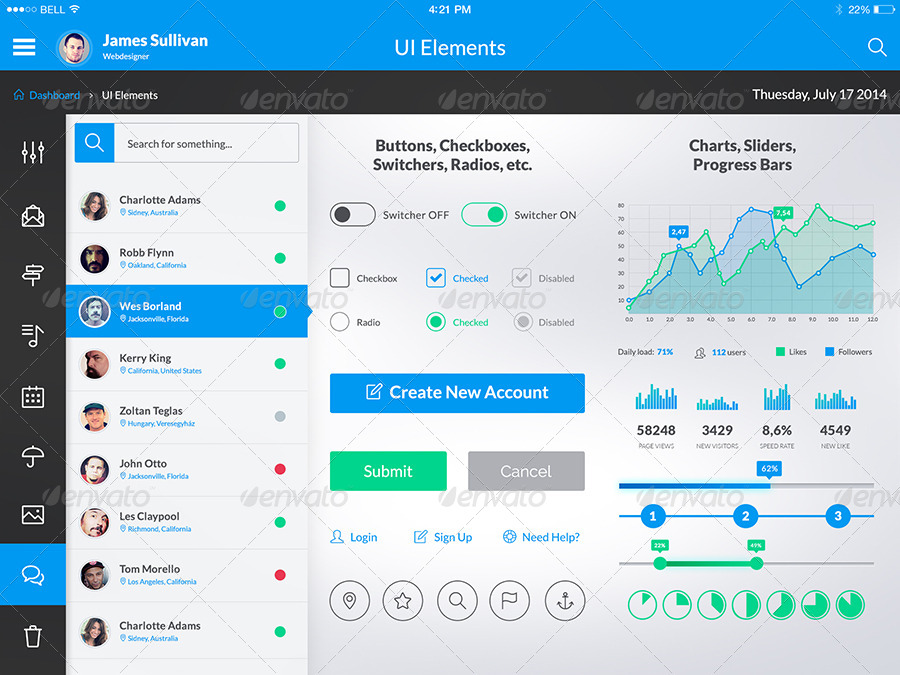 Otrion - iPad & Tablet App Design UI Kit by ...
