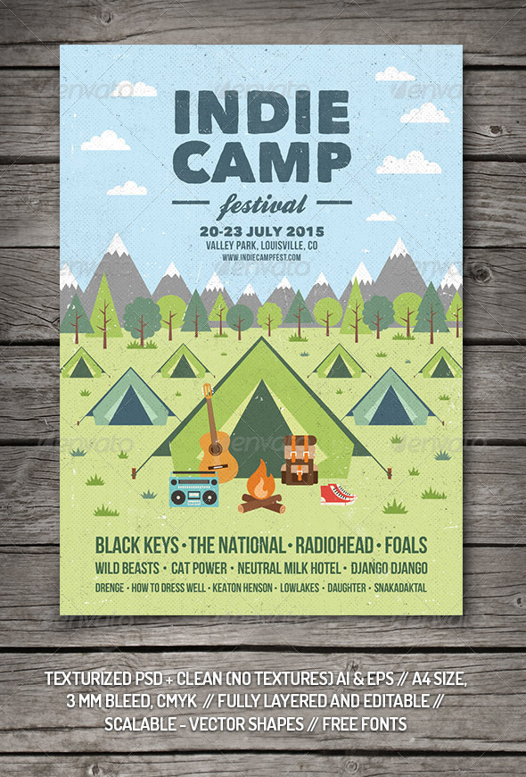 indie camp festival flyer  poster by graphicgoods