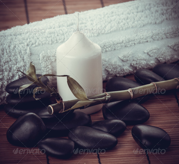 spa concept.  zen basalt stones - Stock Photo - Images