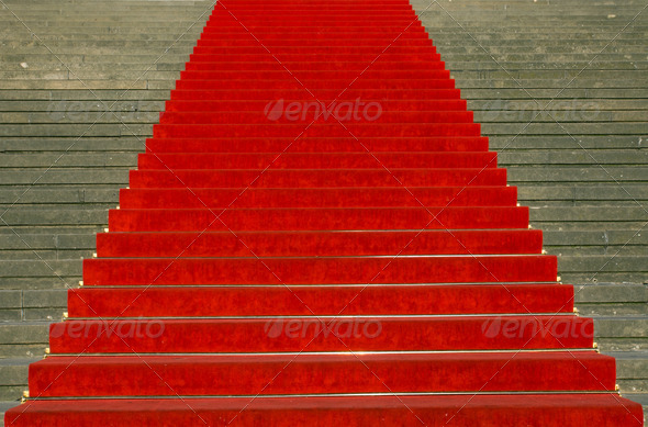 Stairs with red carpet - Stock Photo - Images