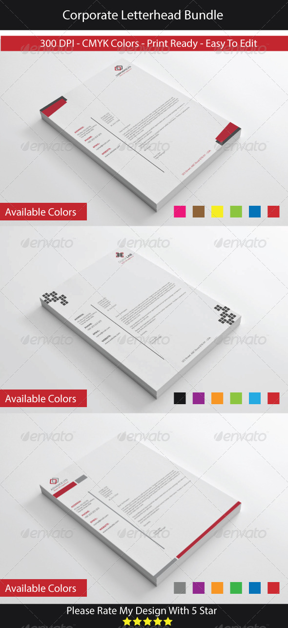 Corporate letterhead bundle by shujaktk graphicriver corporate letterhead bundle stationery print templates spiritdancerdesigns Choice Image