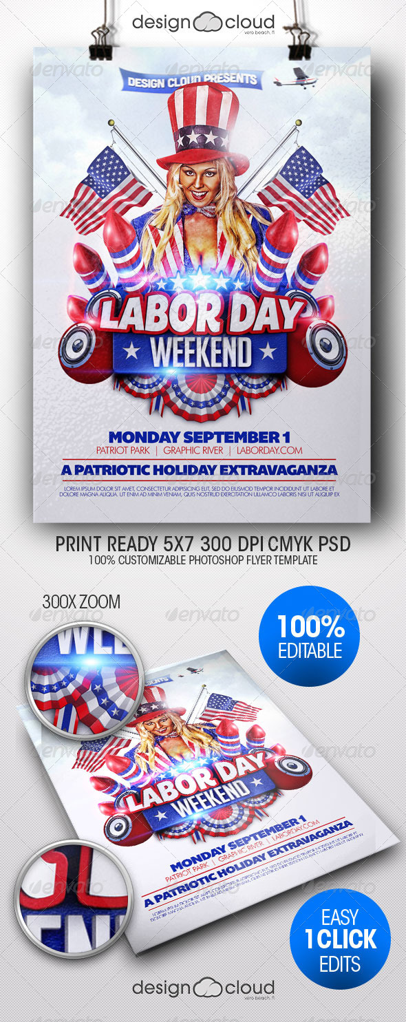 Labor Day Weekend Flyer Template - Holidays Events