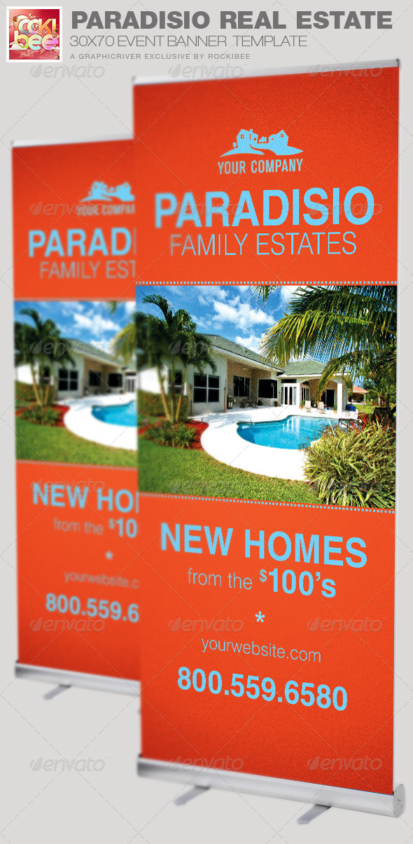 Paradisio Real Estate Banner Template - Signage Print Templates