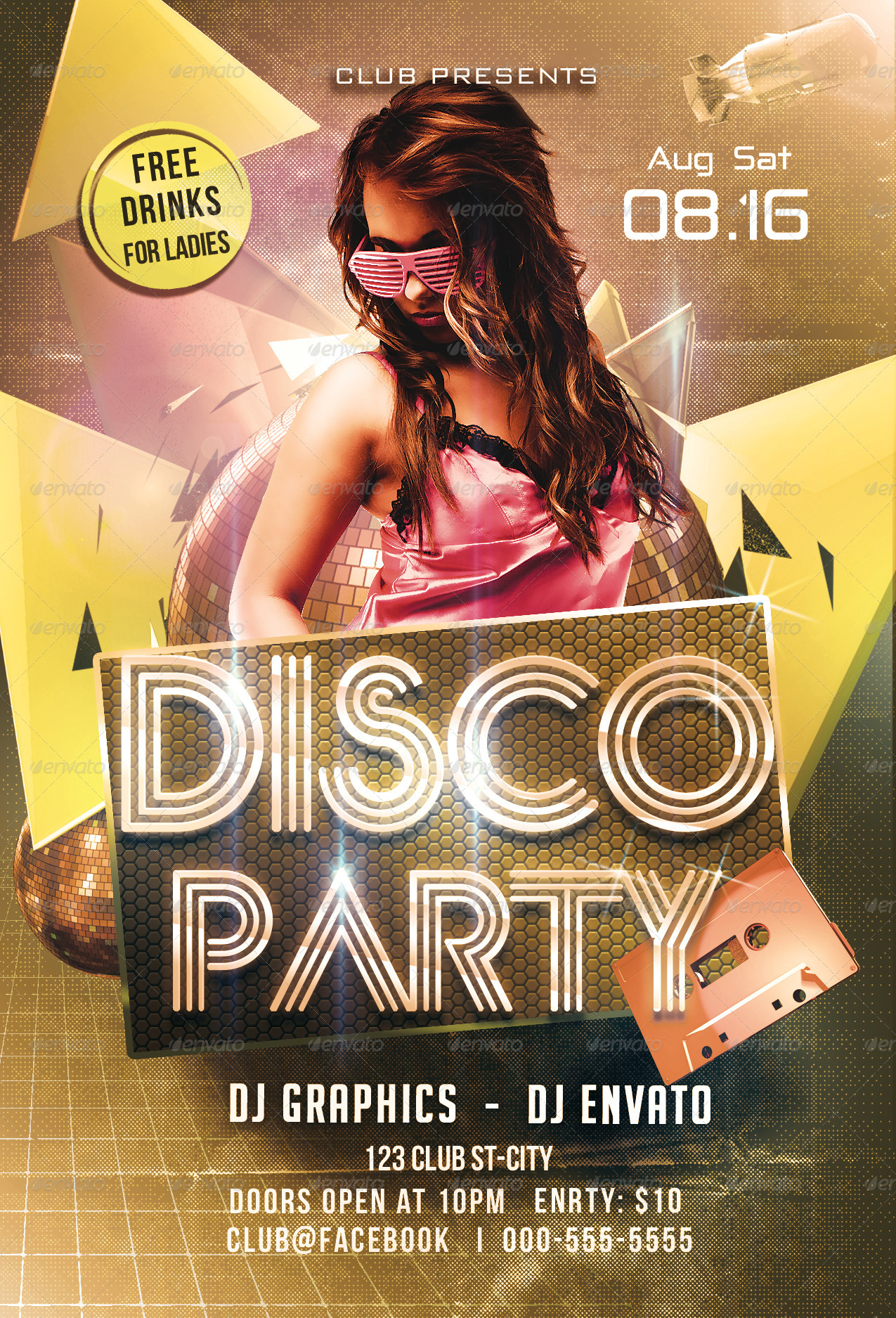 Disco Party Flyer Template by Arrow3000 | GraphicRiver
