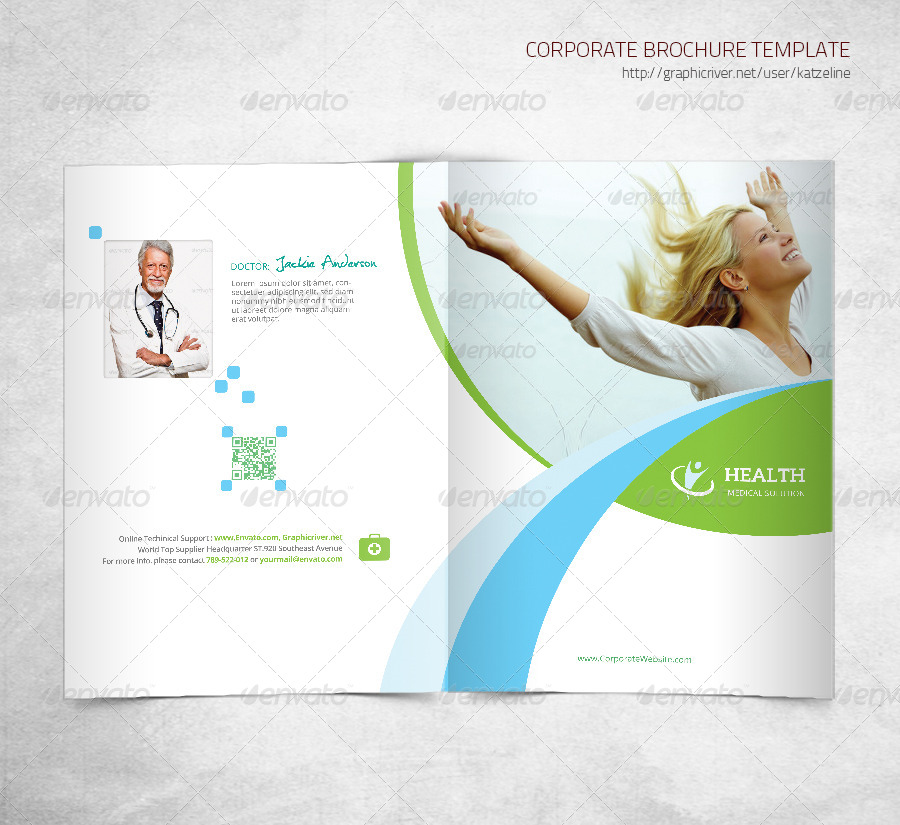 health medical care bifold brochure template by katzeline