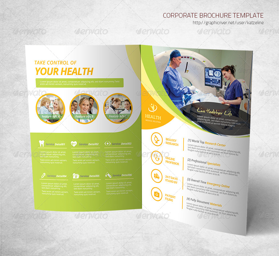 Health Medical Care Bifold Brochure Template By Katzeline GraphicRiver