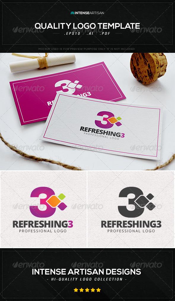 Refreshing 3 Logo Template - Numbers Logo Templates