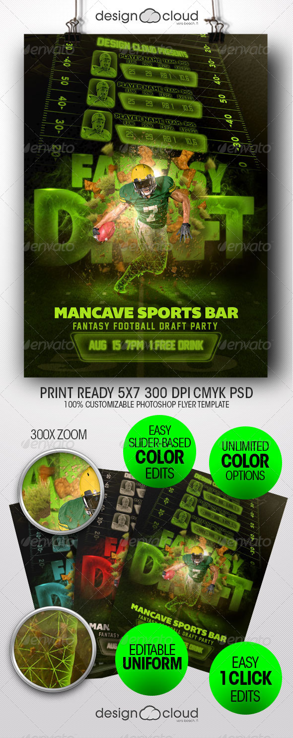 Fantasy Football Draft Party Flyer Template - Sports Events