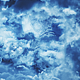 Flying Through Abstract Blue Clouds with Big Moon - VideoHive Item for Sale