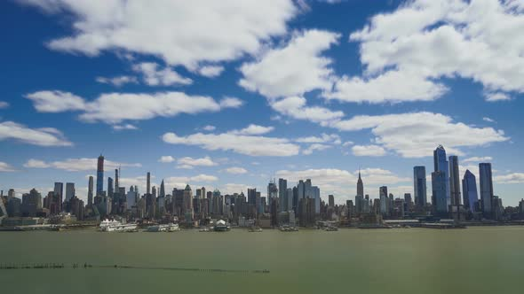 New York City Skyline And Clouds Timelapse