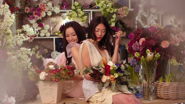 VideoHive Florists Asian Women Happy Working in Flower Store 20482786