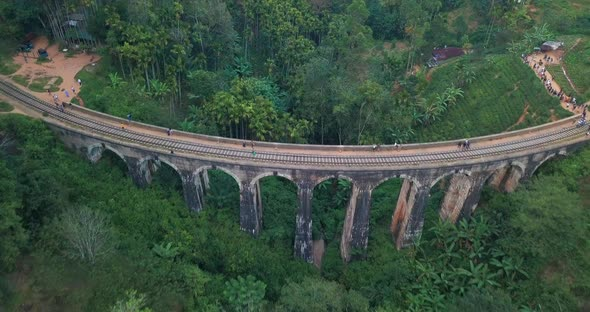 Aerial View of Nine Arches Bridge in Ella, Sri Lanka. Drone Footage