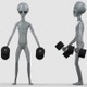Alien Doing Dumbbell Bicep Curls - VideoHive Item for Sale