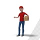 Delivery Man In Red Cap Standing With Shipping Delivery Box - VideoHive Item for Sale