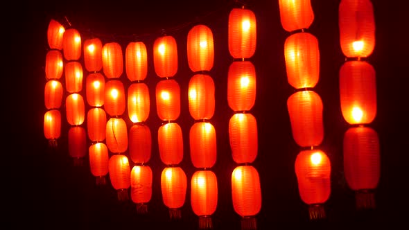 Chinese Lanterns Festive Red Lights Night Street Asia Traditional New Year Decor