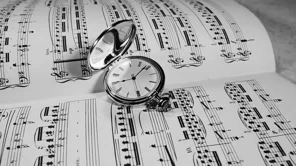VideoHive Watch on the Background of Musical Notes 19834761