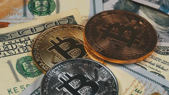 Bitcoin Coins Btc And Dollars Rotate Stock Footage