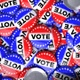 4K Pile of Election Vote Pins in Red White and Blue - VideoHive Item for Sale