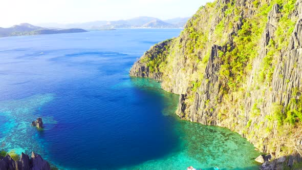 Landscape Of Tropical Rocks Island And Blue Sea Coron Island Palawan Philippines Aerial View