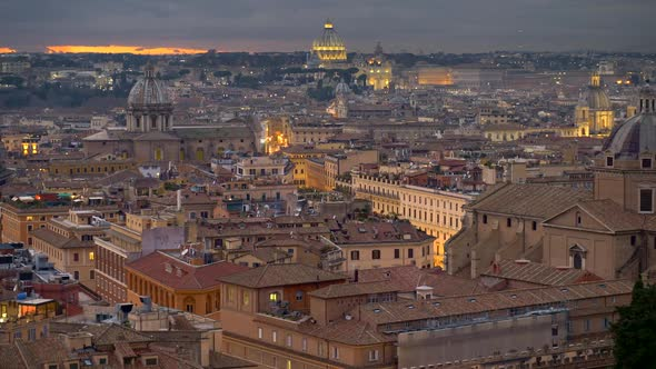Rome, Italy. Panning Shot of Rome Old City Center After Sunset. Illuminated Houses