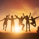 Cheerful People Jumping At Sunset - VideoHive Item for Sale