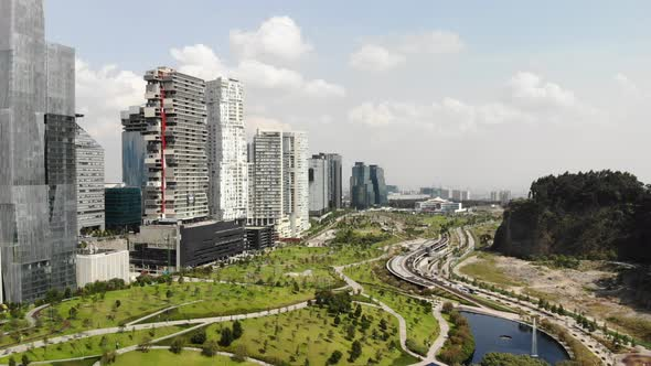 Aerial Of The Skyline In Santa Fe Mexico City Flying Over La Mexicana Park By C13studio