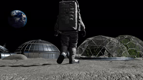 Astronaut Walking On The Moon Colony Of The Future