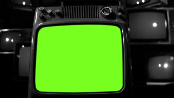 old red tv turning on green screen with static noise black and