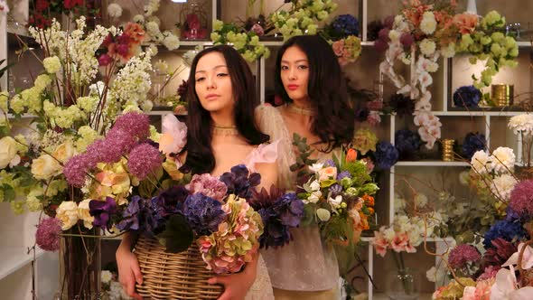 VideoHive Florists Asian Women Happy Working in Flower Store 20022668