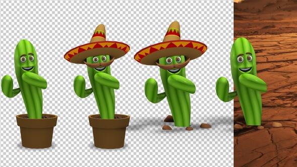 Dancing Cactus Cartoon Character (4-Pack)