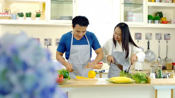 Young Asian Couple Enjoy to Preparing Food in the Kitchen 20410143