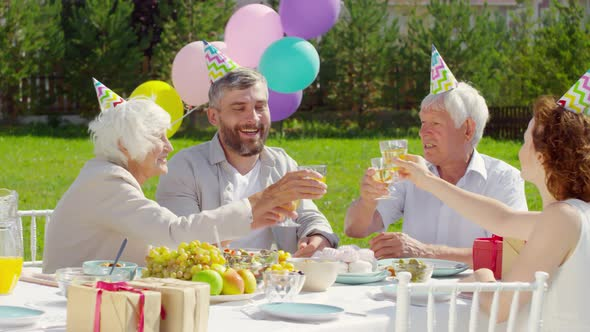 Family Couple and Grandparents Toasting with Wine on Outdoor Dinner Party