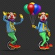 Funny Cartoon Clown Character Riding Unicycle With Balloons (2-Pack) - VideoHive Item for Sale
