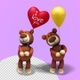 Teddy Bear Holding Red Love Heart Balloon (2-Pack) - VideoHive Item for Sale