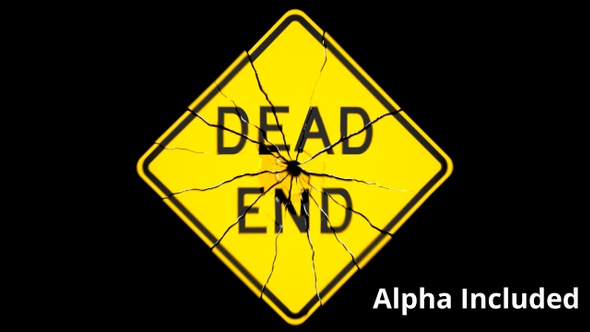 Yellow Dead End Sign Shattering on Black with Matte