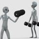 Alien Doing Dumbbell Bicep Curls 2 - VideoHive Item for Sale