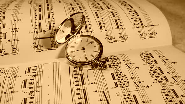 VideoHive Clock With a Roman Dial Against the Background of Musical Notes 19834763